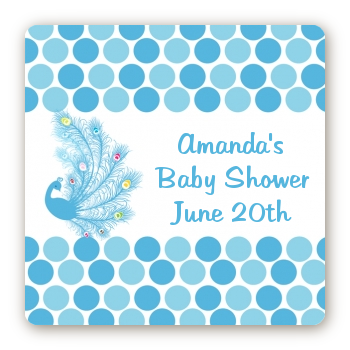 Peacock - Square Personalized Baby Shower Sticker Labels