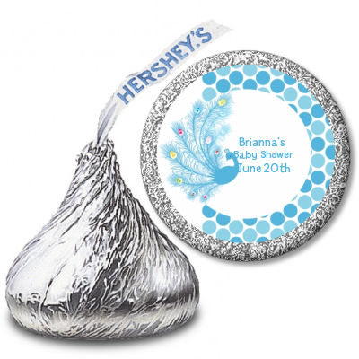 Peacock - Hershey Kiss Baby Shower Sticker Labels