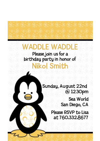 Penguin - Baby Shower Petite Invitations