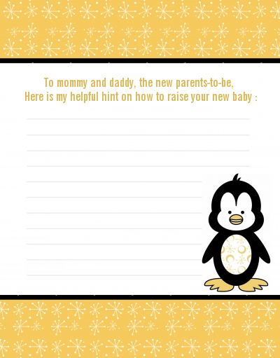 Penguin - Baby Shower Notes of Advice