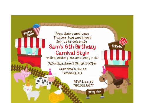 Petting Zoo Carnival - Birthday Party Petite Invitations