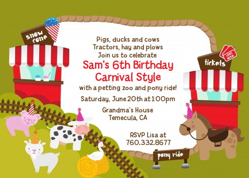 Petting Zoo Carnival Birthday Party Invitations Candles And Favors