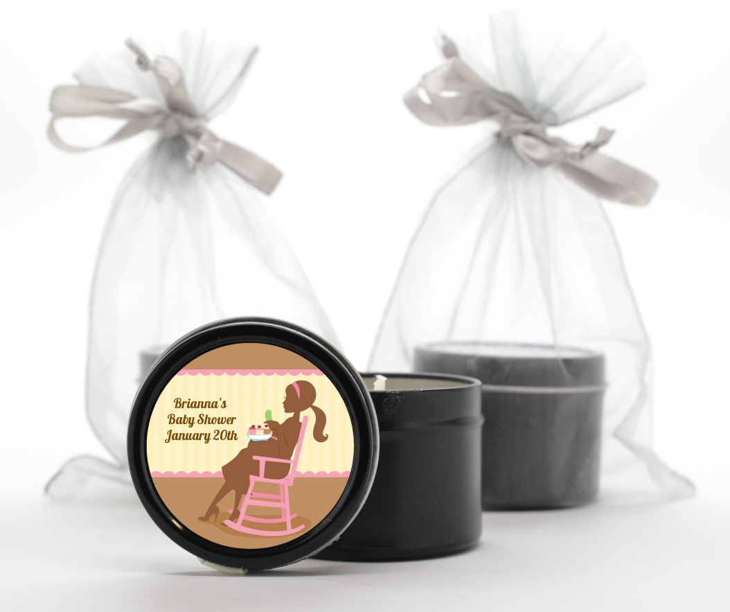 Custom Baby Shower Black Candle Tin Favors
