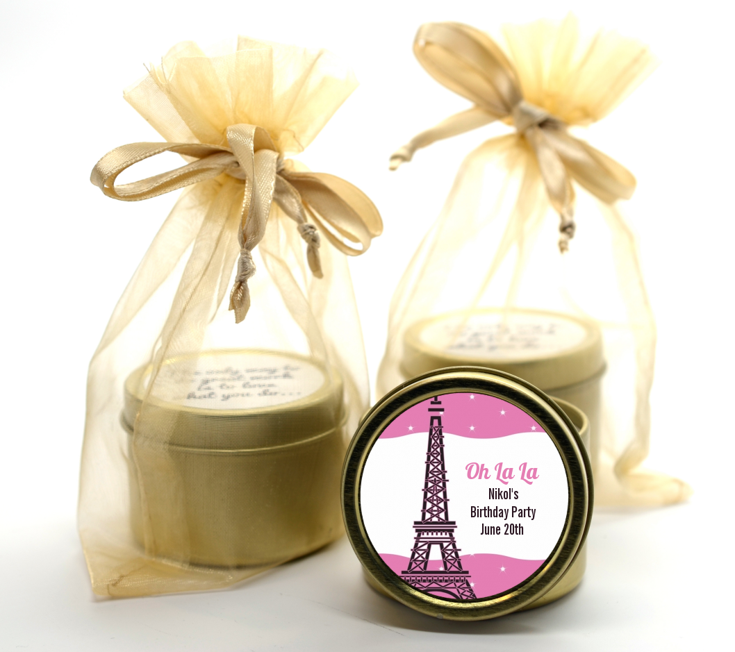 Pink Poodle in Paris Gold Tin Candle Favors | Candles & Favors