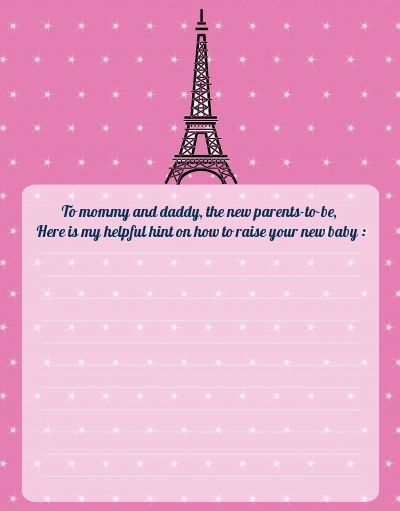 Pink Poodle in Paris - Baby Shower Notes of Advice