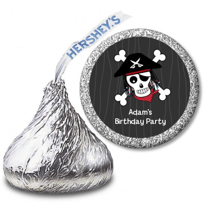 Pirate Skull - Hershey Kiss Birthday Party Sticker Labels