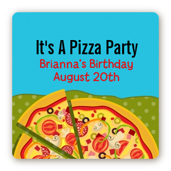 Pizza Party - Square Personalized Birthday Party Sticker Labels