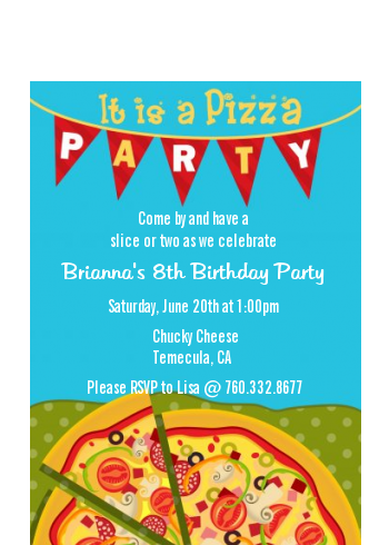 Pizza Party - Birthday Party Petite Invitations