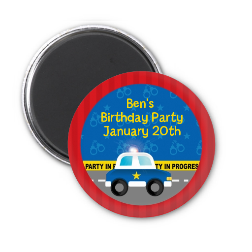 Police Car Personalized Baby Shower Magnet Favors