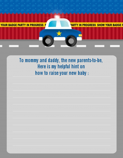 Police Car - Baby Shower Notes of Advice
