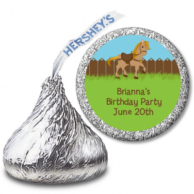 Pony Brown - Hershey Kiss Birthday Party Sticker Labels