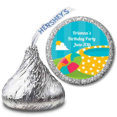 Pool Party - Hershey Kiss Birthday Party Sticker Labels