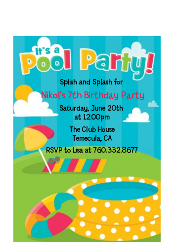 Pool Party - Birthday Party Petite Invitations