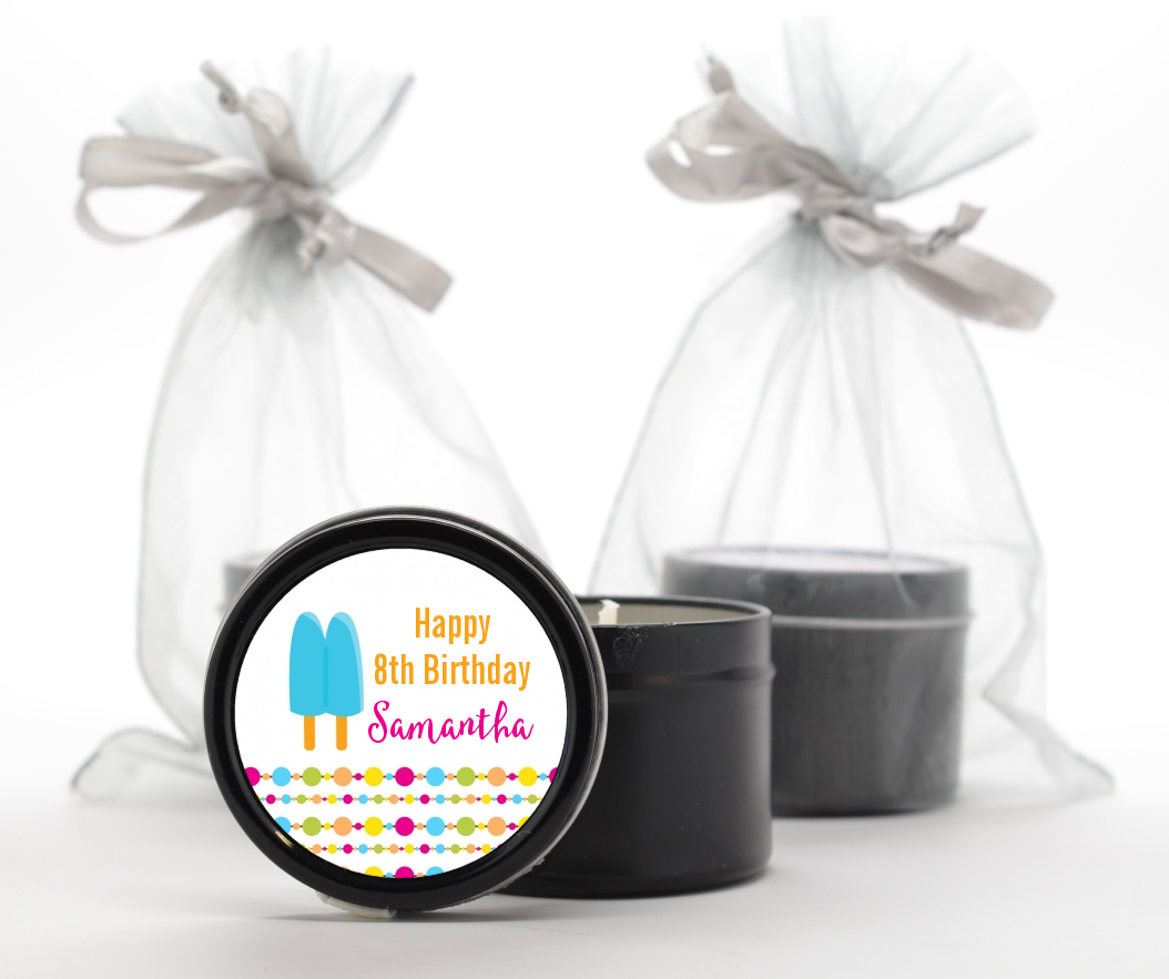 Popsicle Stick - Birthday Party Black Candle Tin Favors Option 1