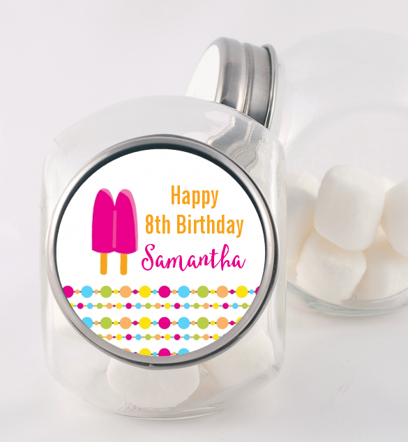 Popsicle Stick - Personalized Birthday Party Candy Jar Option 1