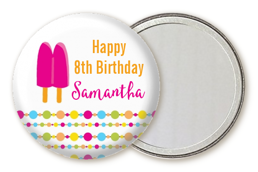 Popsicle Stick - Personalized Birthday Party Pocket Mirror Favors Option 1