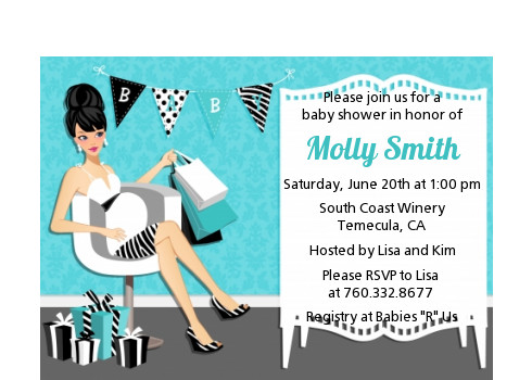 Posh Mom To Be Blue - Baby Shower Petite Invitations Black Hair A