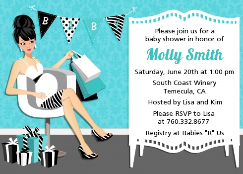 Posh Mom To Be Blue Baby Shower Invitations Candles And Favors