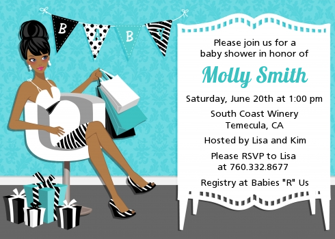 Posh Mom To Be Blue - Baby Shower Invitations Black Hair A
