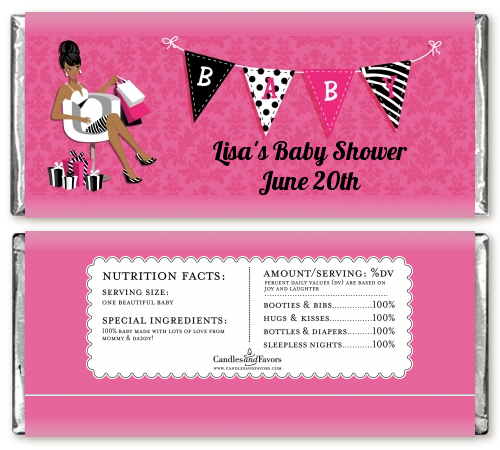 Posh Mom To Be - Personalized Baby Shower Candy Bar Wrappers Black Hair A