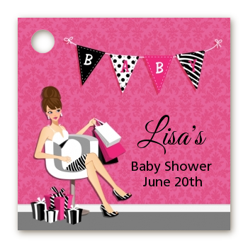 Posh Mom To Be - Personalized Baby Shower Card Stock Favor Tags Black Hair
