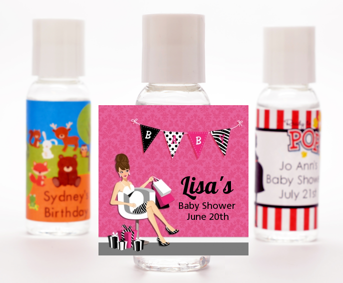 Posh Mom To Be - Personalized Baby Shower Hand Sanitizers Favors Black Hair