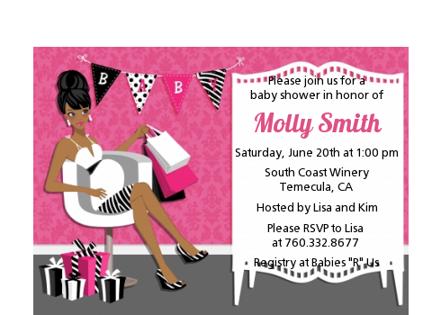 Posh Mom To Be - Baby Shower Petite Invitations Black Hair A