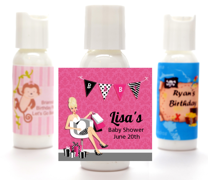 Posh Mom To Be - Personalized Baby Shower Lotion Favors Black Hair