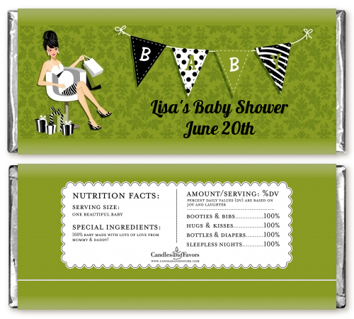 Posh Mom To Be Neutral - Personalized Baby Shower Candy Bar Wrappers Black Hair A
