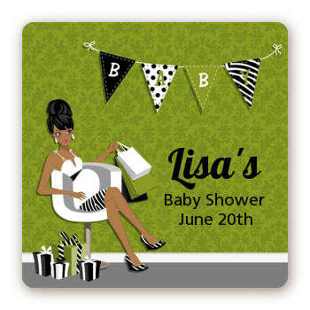 Posh Mom To Be Neutral - Square Personalized Baby Shower Sticker Labels Black Hair A