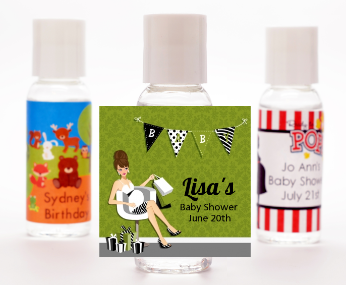 Posh Mom To Be Neutral - Personalized Baby Shower Hand Sanitizers Favors Black Hair A