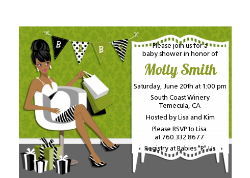 Posh Mom To Be Neutral - Baby Shower Petite Invitations Black Hair A