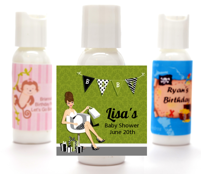 Posh Mom To Be Neutral - Personalized Baby Shower Lotion Favors Black Hair A