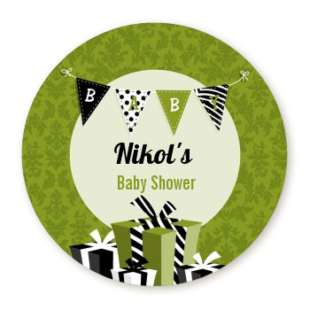 Posh Mom To Be Neutral - Round Personalized Baby Shower Sticker Labels