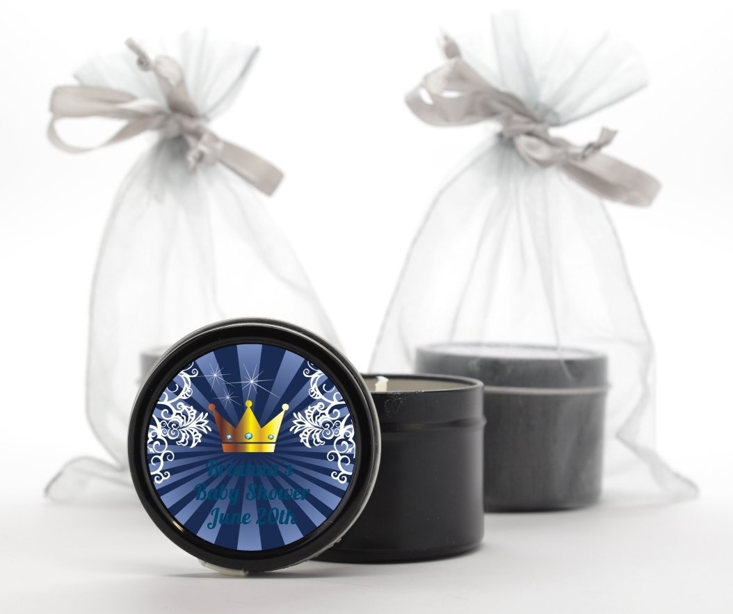 Prince Royal Crown - Baby Shower Black Candle Tin Favors Option 1