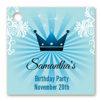 Prince Royal Crown - Personalized Birthday Party Card Stock Favor Tags