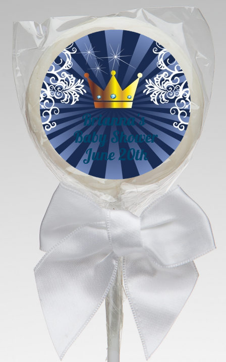 Prince Royal Crown - Personalized Baby Shower Lollipop Favors Option 1