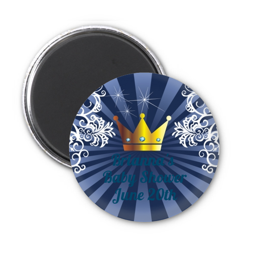 Prince Royal Crown - Personalized Baby Shower Magnet Favors Option 1