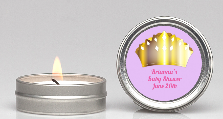 Princess Crown - Baby Shower Candle Favors Pink