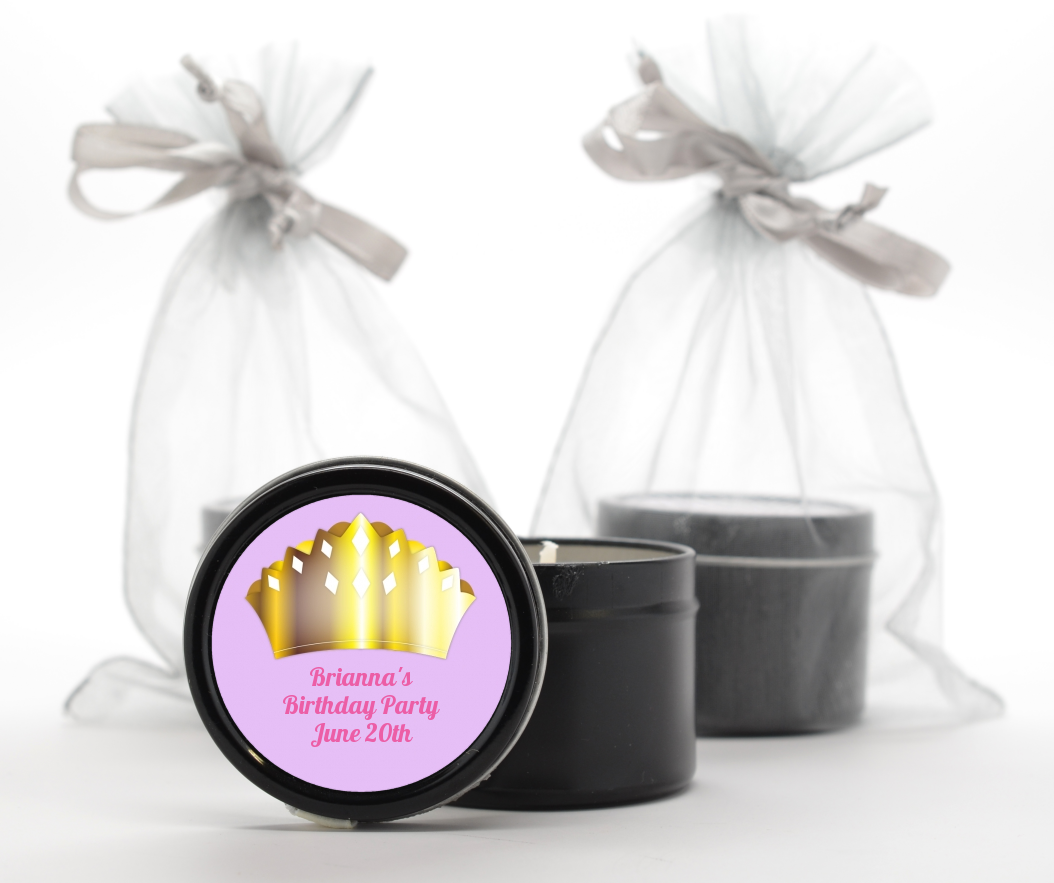 Princess Crown - Birthday Party Black Candle Tin Favors Pink