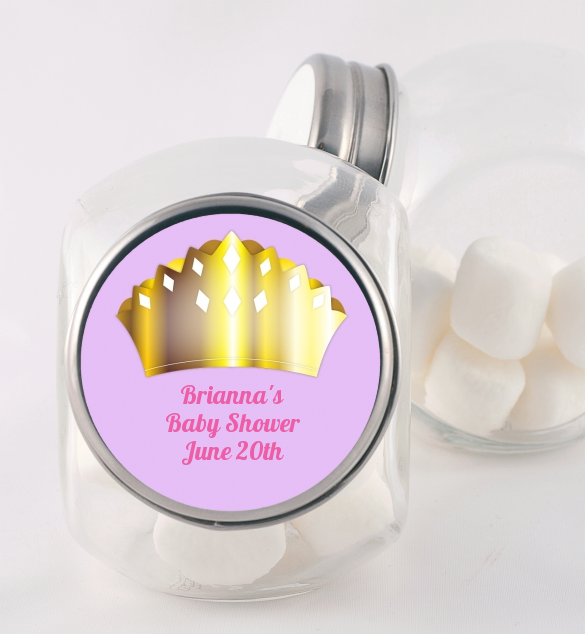 Princess Crown - Personalized Baby Shower Candy Jar Pink