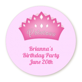 Princess Crown - Round Personalized Birthday Party Sticker Labels Pink