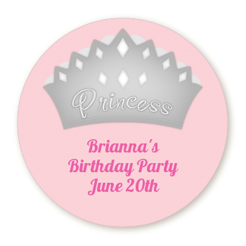 PINK PRINCESS CROWN TIARA BIRTHDAY ROUND PARTY STICKERS FAVORS ~ VARIOUS SIZES