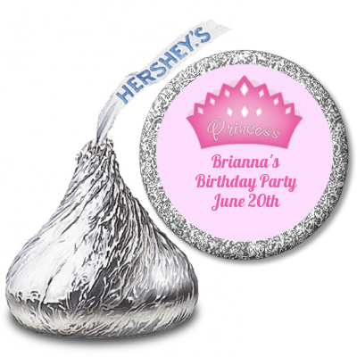Princess Crown - Hershey Kiss Birthday Party Sticker Labels Pink