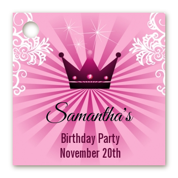 Princess Royal Crown - Personalized Baby Shower Card Stock Favor Tags