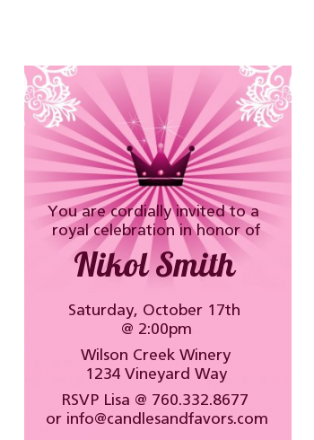 Princess Royal Crown - Baby Shower Petite Invitations