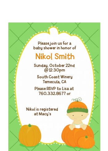 Pumpkin Baby Asian - Baby Shower Petite Invitations