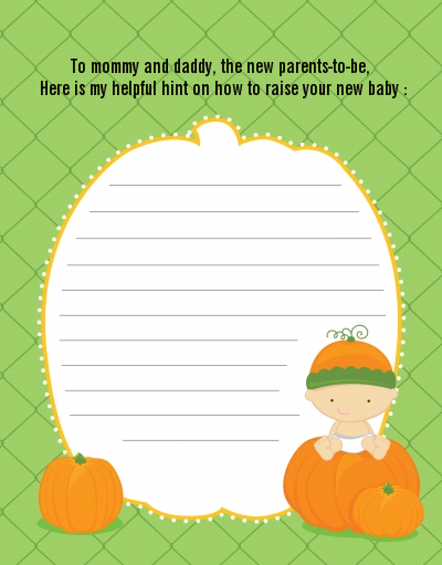 Pumpkin Baby Caucasian - Baby Shower Notes of Advice