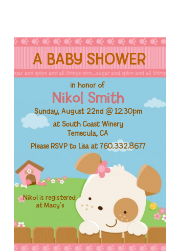 Puppy Dog Tails Girl - Baby Shower Petite Invitations