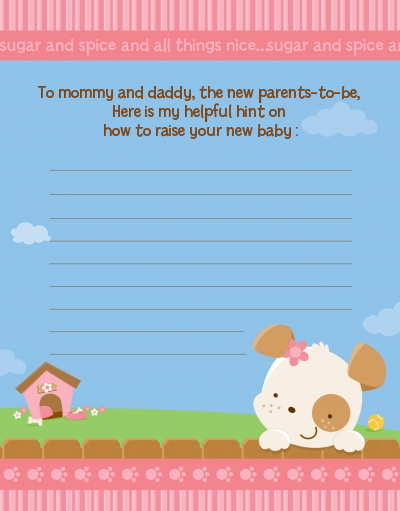 Puppy Dog Tails Girl - Baby Shower Notes of Advice